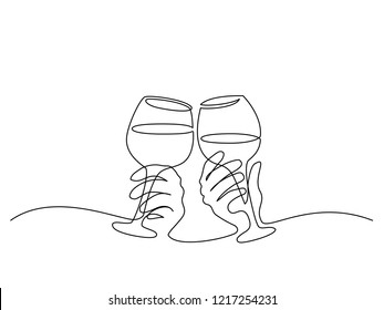 Continuous one line drawing. Hands cheering with glasses of wine. Vector illustration