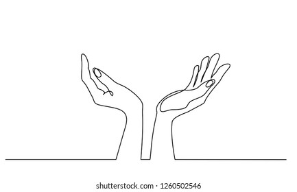 Continuous one line drawing. Hands palms together. Vector illustration
