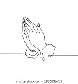 Continuous one line drawing of  hands praying to God. Vector illustration. Minimal style. Sketch
