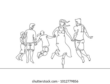Continuous one line drawing of happy family running