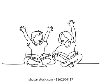 Continuous one line drawing. Happy kids reading open books sitting on floor. Vector illustration