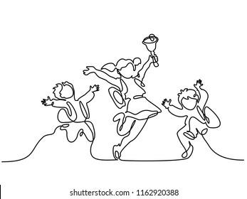 Continuous one line drawing. Happy children pupils jumping with school bell. Vector illustration. Concept for logo, card, banner, poster flyer