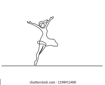 Continuous one line drawing. Happy woman stretching. Vector illustration