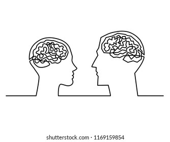 Continuous one line drawing head silhouettes of a couple with a labyrinth inside their heads showing the complexity of the men and women brains and emotions , complex communication Vector illustration