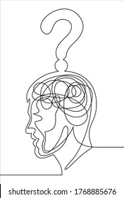 Continuous one line drawing head with a question line icon.Vector concept confusion in the head.