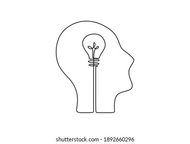 Continuous one line drawing of head with a bulb lamp. Think big, point to idea concept minimal design isolated on white background.