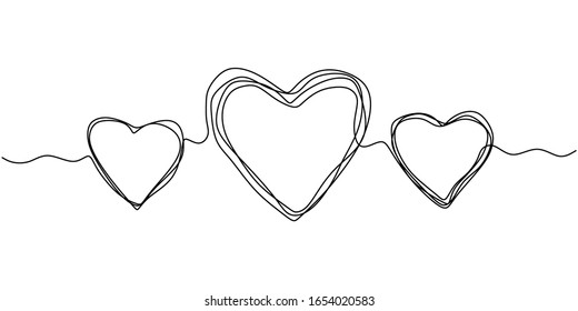 Continuous one line drawing of heart. Symbol of love scribble hand drawn minimalism of three hearts, artistic lineart with pencil texture.