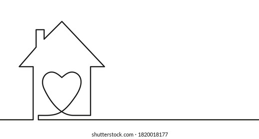 Continuous one line drawing heart inside house, Love in family symbol. Minimalist contour vector illustration made of single thin line black and white