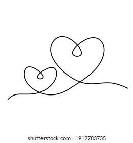 Continuous one line drawing of heart shape, vector minimalist black and white illustration of love valentine concept