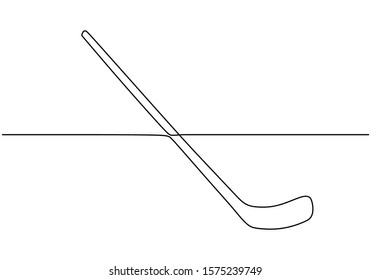 Continuous one line drawing of hockey stick