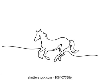 Continuous one line drawing. Horse logo. Black and white vector illustration. Concept for logo, card, banner, poster, flyer
