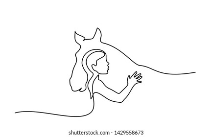 Continuous one line drawing. Horse and woman heads logo. Black and white vector illustration. Concept for logo, card, banner, poster, flyer