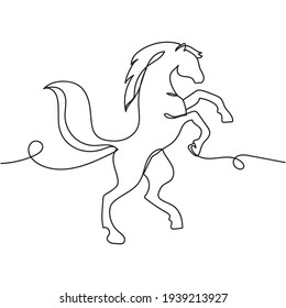 Continuous one line drawing of horse. Minimal style. Perfect for cards, party invitations, posters, stickers, clothing. Animal concept