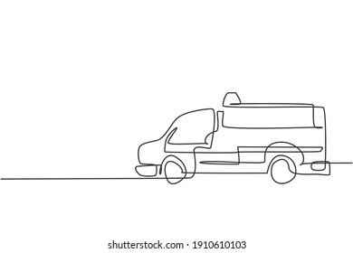 Continuous one line drawing of hospital ambulance car. Rescuer transportation vehicle for first emergency hand drawn minimalist concept. Modern single line draw design vector graphic illustration