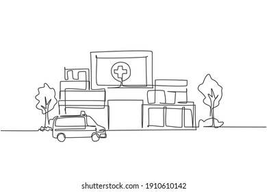 Continuous one line drawing hospital building construction at countryside. Medical health care infrastructure hand drawn minimalist concept. Modern single line draw design vector graphic illustration
