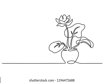 Continuous one line drawing. House plant in pot. Vector illustration