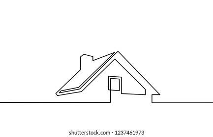 continuous one line drawing. house, roof, real estate. Black and white vector illustration.