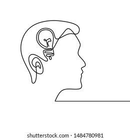 Continuous one line drawing human mind with bulb lamp vector illustration minimalism concept of idea and creativity