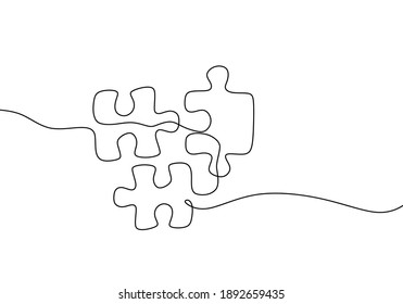 Continuous one line drawing of jigsaws on white background. Puzzle game symbol and sign business metaphor of problem solving, solution, and strategy.