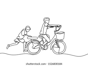 Continuous one line drawing of kids playing bicycle with friend. Friendship and childhood theme. Act of kindness of young boy help to push the bike.