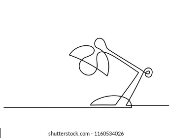 Continuous one line drawing. Lamp on the table. Vector illustration
