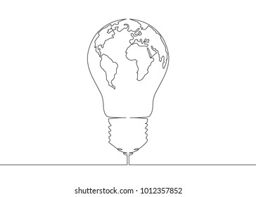 Continuous one line drawing light bulb symbol idea. World map globe inside the lamp