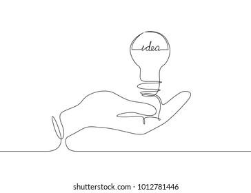 Continuous one line drawing light bulb symbol idea. The inscription IDEA