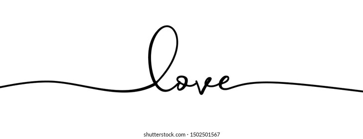 Continuous one line drawing of love typography lettering script font typographic lineart design. Minimalism concept of romantic card, banner, and poster sign and symbol.