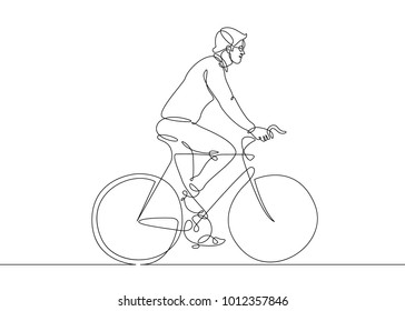 Continuous one line drawing  man on a bicycle