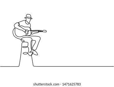Continuous one line drawing of a man with acoustic guitar sit on chair playing good sound