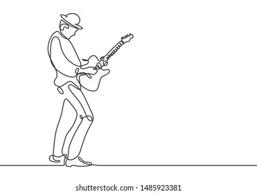 Continuous one line drawing of man playing electric guitar. Concept of person on stage play rock country, jazz, and pop song.