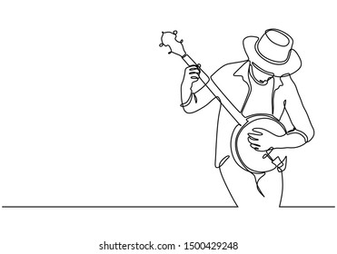 Continuous one line drawing of man playing banjo music vector illustration. Stringed instrument with a thin membrane stretched. Minimalist design of simplicity minimalism.