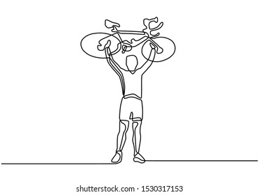 Continuous one line drawing of a man holding and raising a bicycle after winning the competition of biking game sport.
