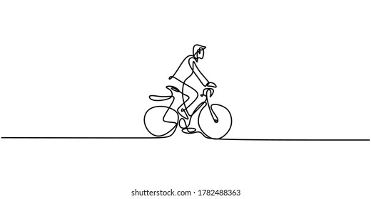 Continuous one line drawing man on a bicycle. The character healthy happy men cycling in the morning every weekend. Healthy lifestyle in new normal concept. Vector design illustration