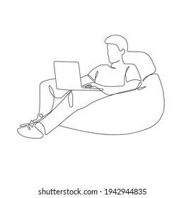 Continuous One Line Drawing of Man with Laptop. Businessman Working One Line Illustration. People Line Abstract Minimalist Contour Drawing. Vector EPS 10