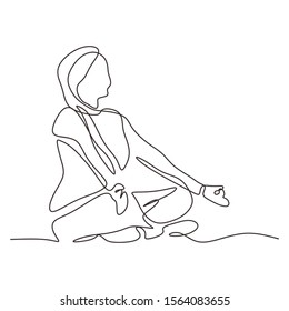 Continuous one line drawing of meditation woman. Girl doing relaxation on yoga exercise with lotus position. Vector illustration minimalism sport theme design.