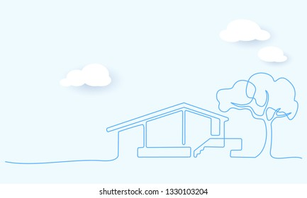 Continuous one line drawing. Modern house with tree, building, residential building concept, logo, symbol, construction Vector illustration. Paper design clouds