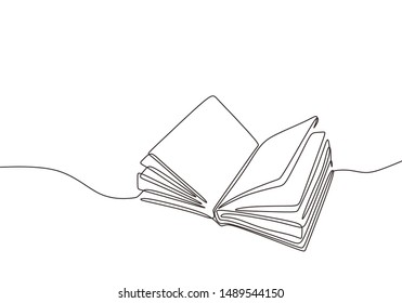 Continuous one line drawing open book with flying pages. Vector illustration education supplies back to school theme.