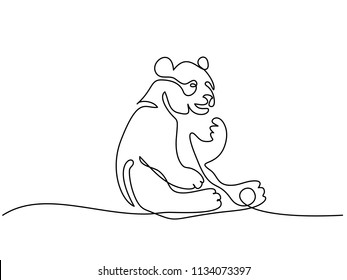 Continuous one line drawing. Panda bear symbol. Logo of the panda. Vector illustration