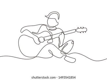 Continuous one line drawing of person playing acoustic guitar instrument. Guy sit and relax play song to make him happy in leisure time.
