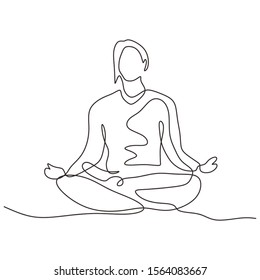 Continuous one line drawing of person sitting in lotus position for yoga exercise or meditation. Vector illustration minimalism sport theme design.