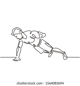Continuous one line drawing of person doing push up. Man exercise for healthy body and big and strength muscular with one hand. Vector illustration minimalism sport theme design.