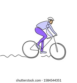 Continuous one line drawing of person athlete riding bicycle or bike with colors
