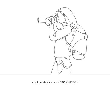 Continuous one line drawing photographer