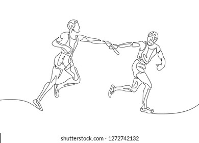Continuous one line drawing relay race, runner passes the baton. Teamwork concept