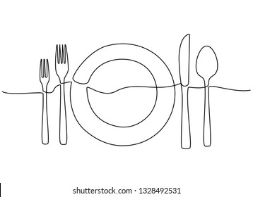 Continuous one line drawing of restaurant logo. plate, knife, fork and spoon. Black and white vector illustration. - Vector