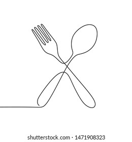 .Continuous one line drawing. restaurant logo. knife, fork and spoon. Drawing by hand on a sign or business cards in a cafe. Black and white vector illustration.