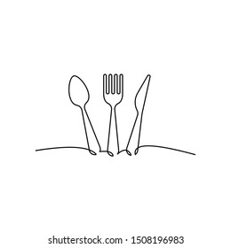 Continuous one line drawing. restaurant logo. knife, fork and spoon. Drawing by hand on a sign or business cards in a cafe. Black and white vector illustration.