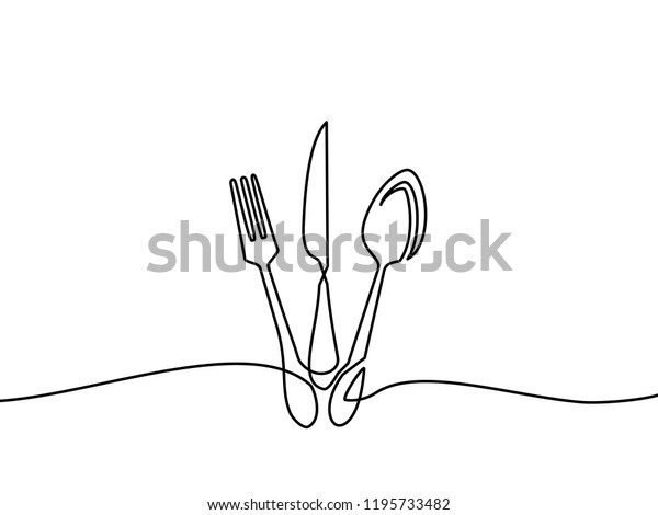 Continuous one line drawing. restaurant logo. Black and white vector illustration.