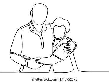 Continuous one line drawing of romantic couple. Romantic elderly couple. Happy grandparents isolated on white background. Old grandfather and grandmother. Minimalism vector illustration hand drawn